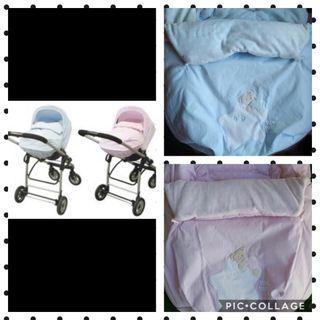 2 sacos de bebe tuc tuc celeste y rosa