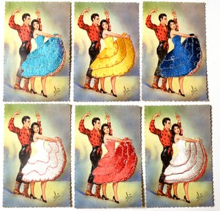 postal bordada vintage