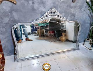 Espejo Barroco 159cm Ancho Plata Envejecida Madera