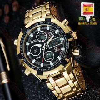 Reloj Para Hombre Dorado Esfera Negra Luz LED