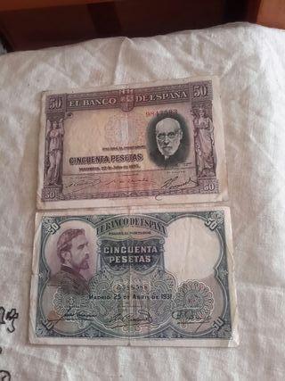 2 antiguos billetes de 50 pesetas sin serie