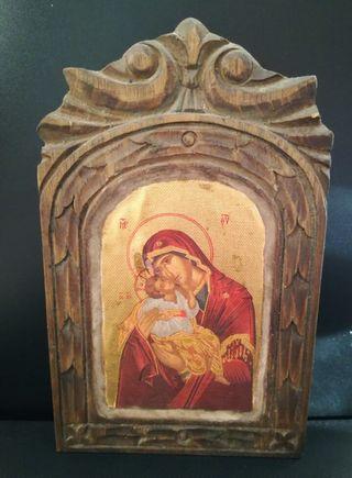 Antiguo Retablo icono religioso. Años 20-30