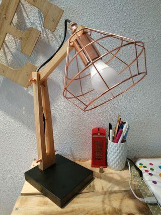 lampara madera y metal
