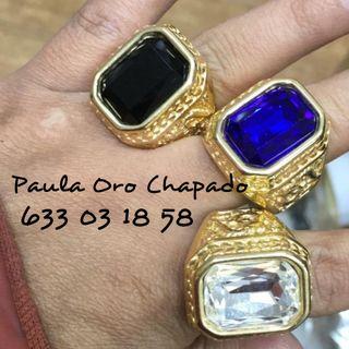 sellos anillos piedras oro chapado golfi