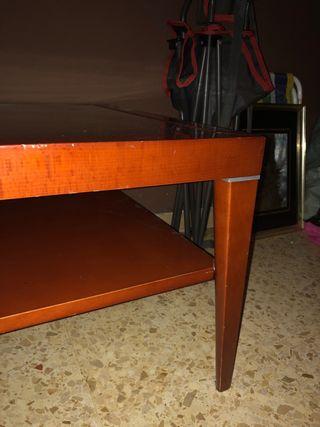 Mesa centro de madera chapada