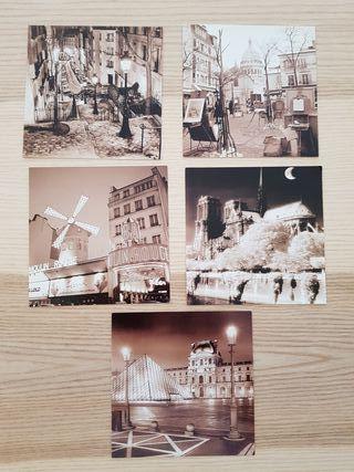 Lote 5 postales originales de París en sepia