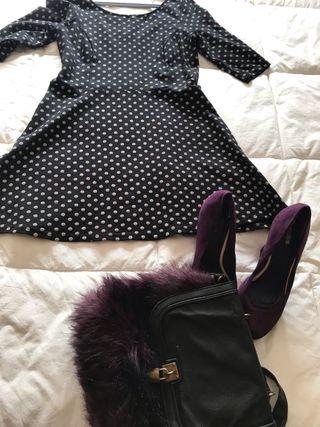 Vestido topos Negro y rosa Talla XL de segunda mano por 17