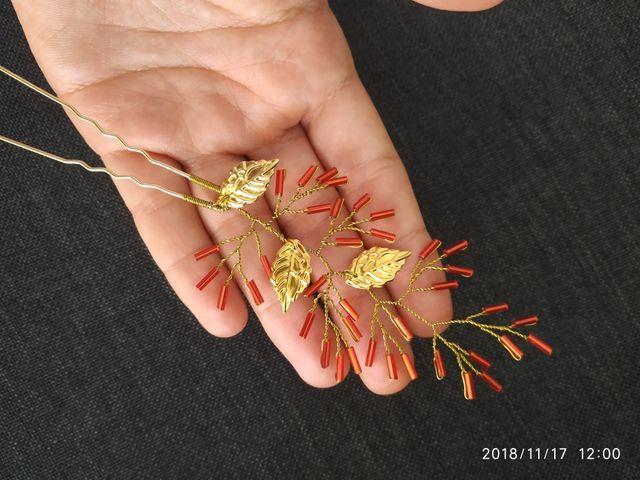 Muy fina Horquilla artesanal de oro en tono rojo