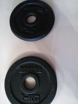 discos de hierro 1kilo de mancuernas