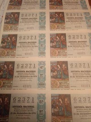 Décimos Lotería Nacional Sorteo Navidad 1974