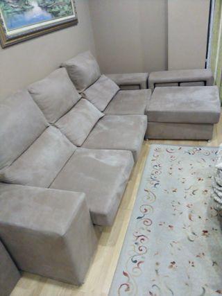 Sofa cheslong 4 puffs