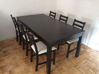 Mesa comedor BJURSTA y 6 sillas LERHAMM (IKEA) de segunda mano por ...