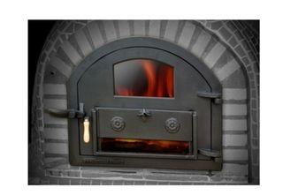 Puerta de fundición para horno de leña con cristal