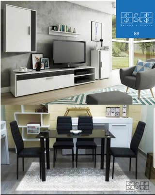 Pack de conjunto de salón + mesa con 4 sillas