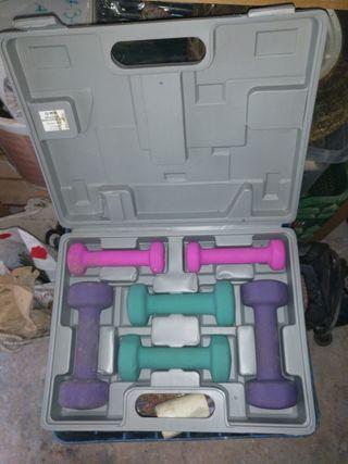 juego de pesas en maletin