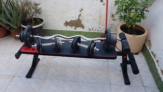 pesas y banco plegable