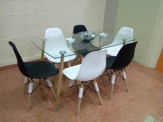 Mesa nórdica con 6 o 4 sillas