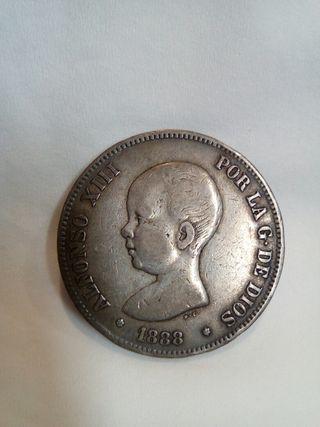 Moneda 1888 MPM de 5 pesetas de plata Alfonso XIII