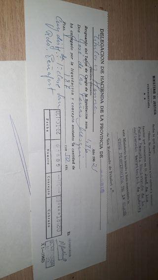 Certificado cruz distinguida de 1° clase