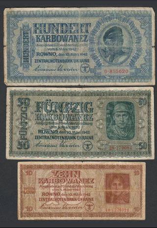 3 billetes ocupación Alemania nazi wwII