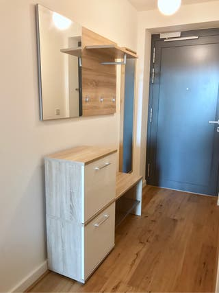 Shoe cabinet, coat rack and mirror
