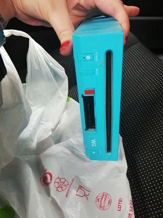 wii azul aquua mini con mandos, sensor y cables