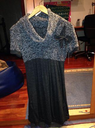 Vestido doble cuello gris