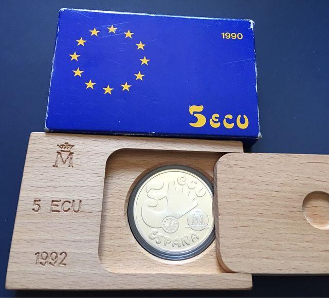 Moneda PLATA 5 Ecu 1992 ESTUCHE