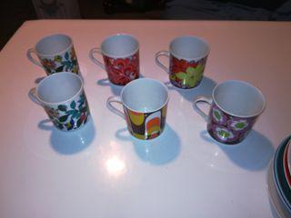 Juego 6 tazas de café con Platos