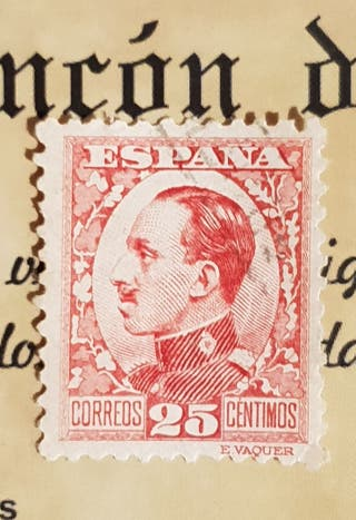 Sello 25 cts. Alfonso XIII.