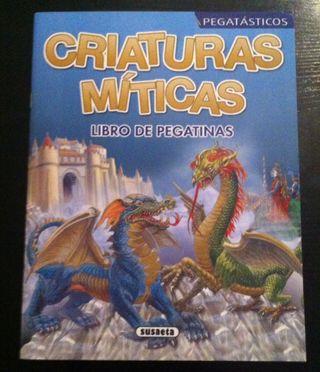 ANTIGUO LIBRO DE PEGATINAS CRIATURAS MITICAS