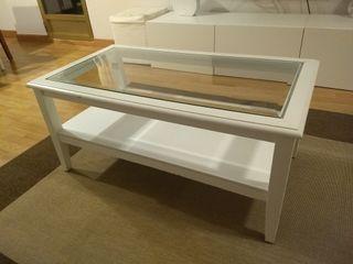 Mesa centro madera y cristal 100x55x45cm