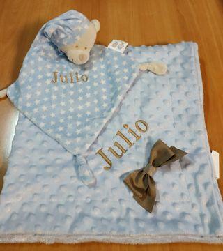 mantita bebé y dou dou, cesta bebé personalizada