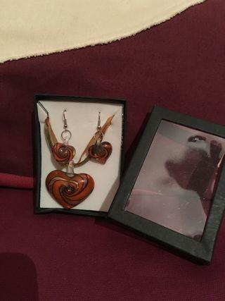 Conjunto pendientes y collar cristal hecho a mano