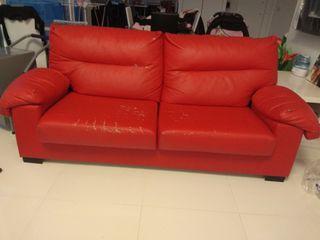 sofa polipiel rojo