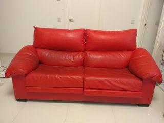 sofa polipiel rojo 3 plazas