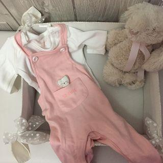 Conjunto Peto bebé niña con body 1-3 meses