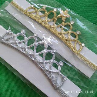 Pack de 2 Coronas para bebé ,niña en oro y plata