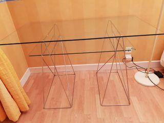 """bureau """"Design"""" en verre avec pieds métalliques en"""