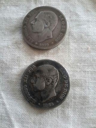 2 monedas de 2 pesetas de plata