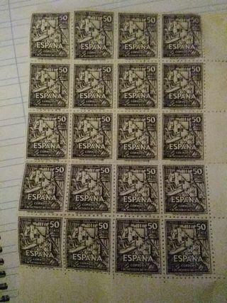 Hoja de sellos antiguos.