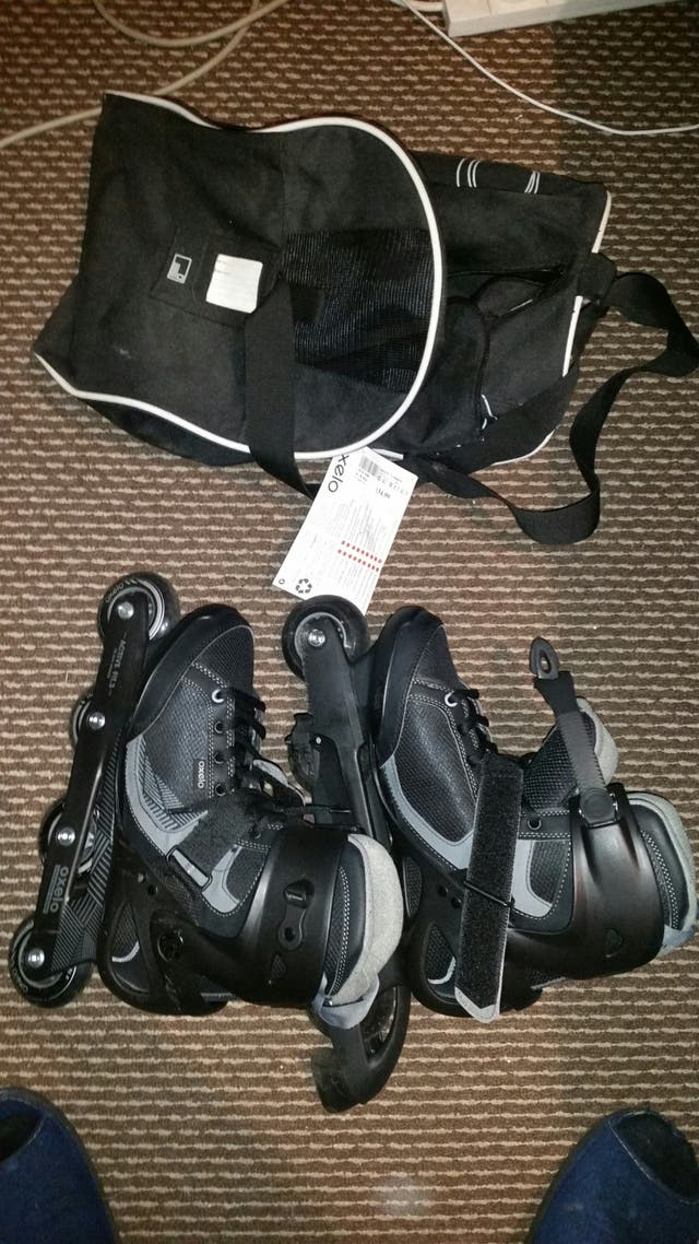 Oxelo Roller Skates and bag