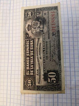 billete banco español isla de Cuba 1896 serie 2