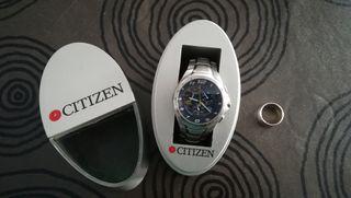 Conjunto reloj Citizen Eco Drive y anillo de plata