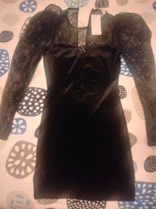 Vestido negro terciopelo mango