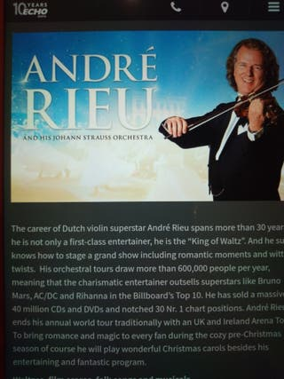 3 tickets to see Andre Rieu