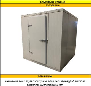 Cámara de paneles refrigeración +motor +evaporador