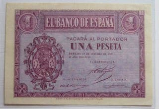 Billete 1 peseta 1937.