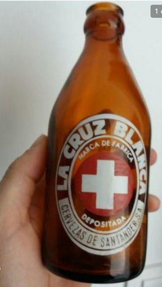 Antigua botella cerveza LA CRUZ BLANCA SANTANDER