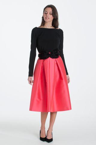 Falda midi coral roja fiesta